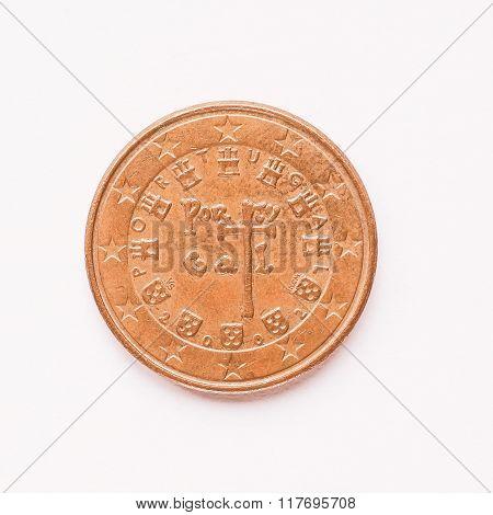 Portuguese 5 Cent Coin Vintage