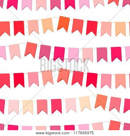Festive seamless pattern with hanging flags cut from paper.  Endless texture for your design, greeting cards, wedding announcements, posters.