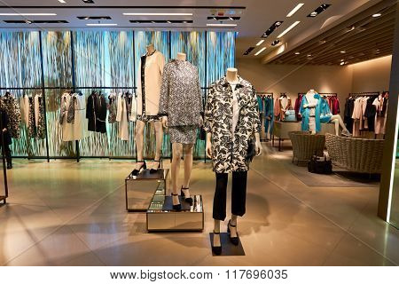 HONG KONG - JANUARY 26, 2016: inside of Max Mara store at Elements Shopping Mall. Max Mara is a luxury Italian fashion house.