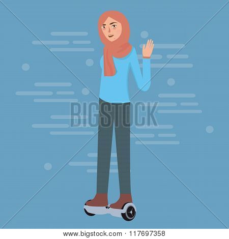 young girl wearing hijab play hoverboard standing balancing