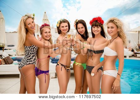 Cheers! Happy Sexy Young  Women Clinking  Glasses At Hen Party