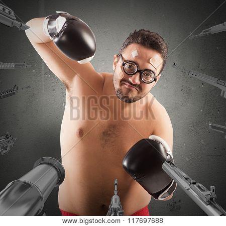 Worried goofy boxer