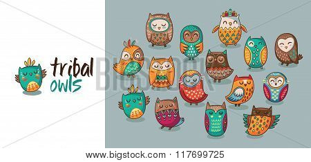 Set of tribal owls
