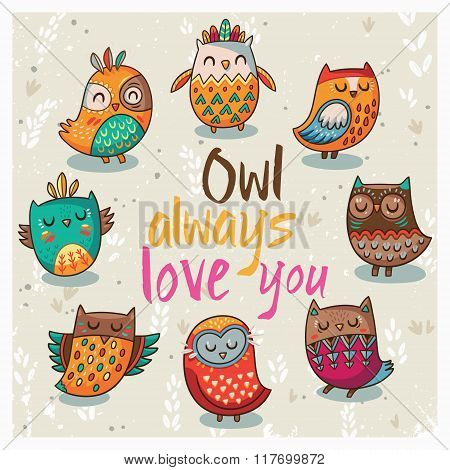 Vector illustration with cute owls