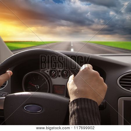 Man driving in car. Transportation scene design.