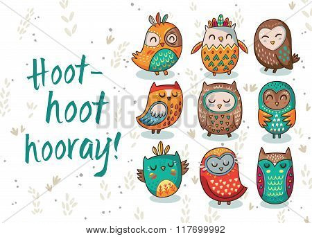 Owl tribal vector set