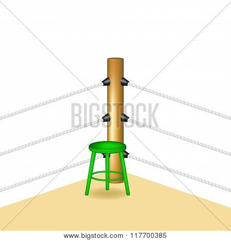 Boxing corner with green wooden stool and white ropes