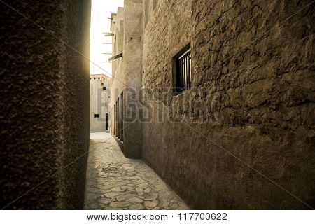 A narrow passage of an old islamic architecture.