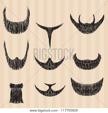 Men's retro collection of styling beard hair. illustration.