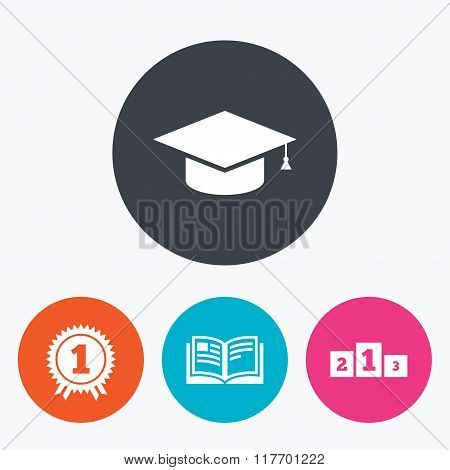 Graduation icons. Education book symbol.