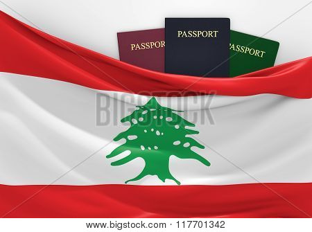 Travel and tourism in Lebanon, with assorted passports