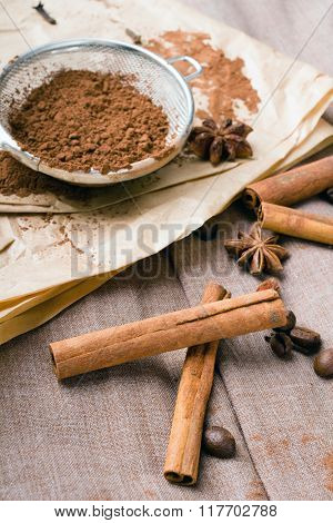 cinnamon coffee beans cocoa and anise