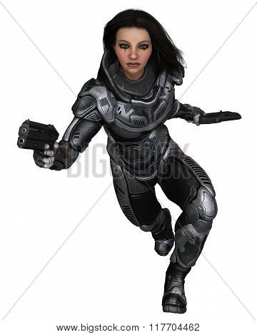 Future Soldier, Female Brunette, Running Forward