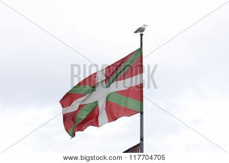 Basque Country Flag, With A Sea Gull On The Pole.