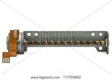 Old Micro Motor By Floppy Disk Drive, Isolated On White Background