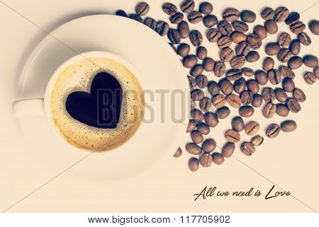 Vintage Cup Of Coffee Love Concept Composition
