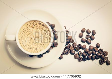 Cup Of Coffee For Breakfast And Roasted Beans