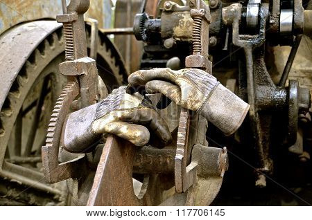 Working gloves on steam engine
