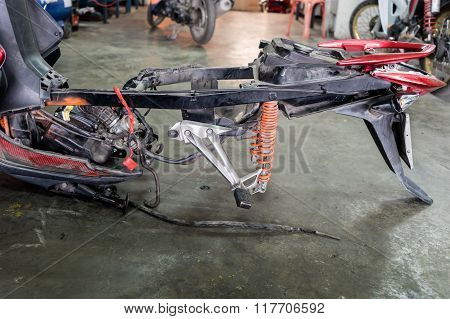 Framing Of A Motorcycle In Repair Of The Damage,garage Shop