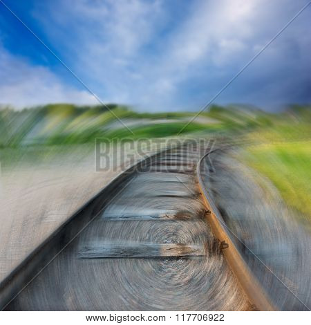 Railway Disappearing Into The Landscape