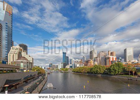 Yarra River And Southbank Footbridge