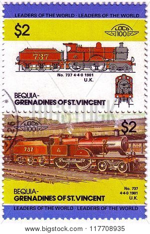 Bequia - Circa 1985: A Stamp Printed In Grenadines Of St. Vincent Shows Train No 737 4-4-0, 1901 U.k