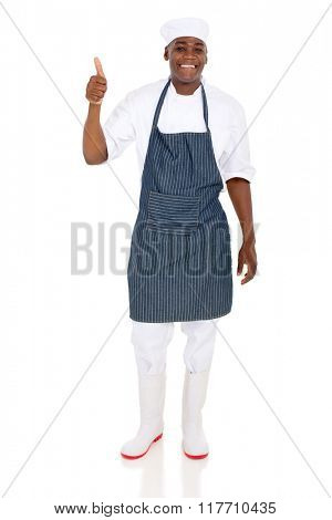cheerful african restaurant chef thumb up