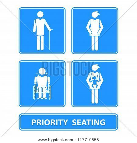 priority seating sign and symbol vector illustration