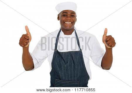 young african chef giving thumbs up