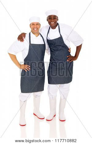 portrait of professional multiracial chefs isolated on white