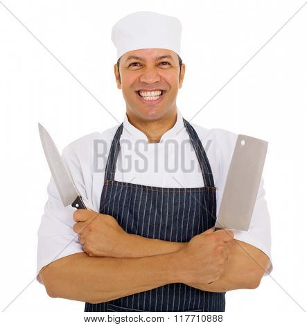 cheerful male chef with knives on white background