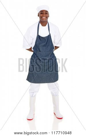 young african american butcher isolated on white background