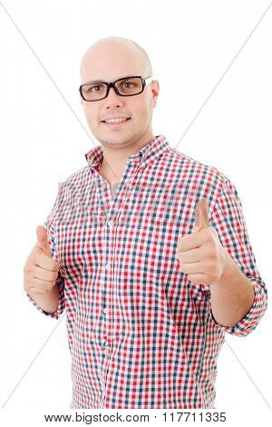 Young casual man going thumbs up, isolated on white background