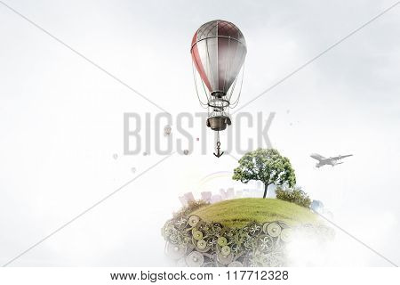 Air balloon in summer sky