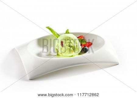 Pistachio Sorbet with Berries
