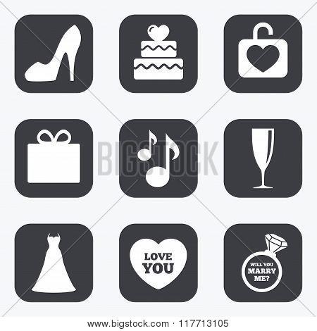 Wedding, engagement icons. Cake, gift box.