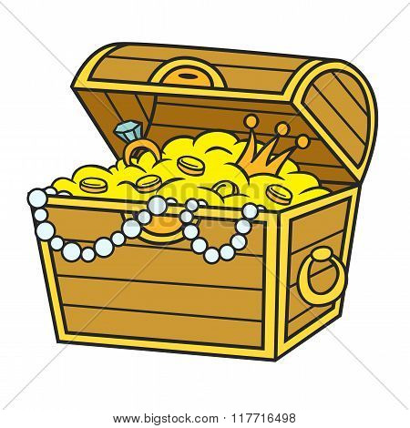Treasure chest full of gold and jewels. Cartoon and vector isolated object