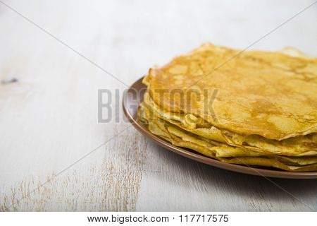 Pancakes On A Table. Shrovetide.