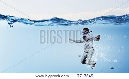 Diving in water businessman