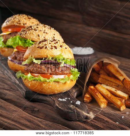 Hamburger With Potato Closeup