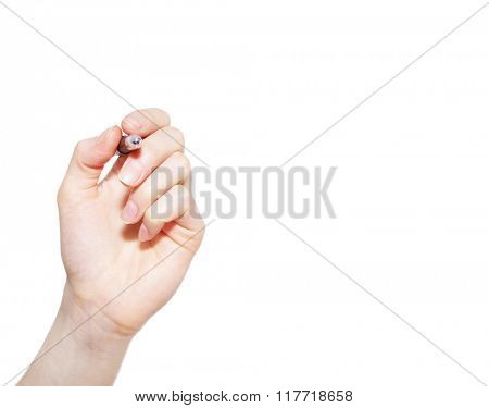 Hand with pen on white background