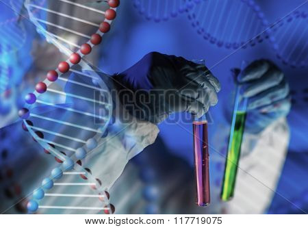 science, chemistry, biology, medicine and people concept - close up of young female scientist holding tubes with chemicals making test or research in laboratory over dna molecule structure
