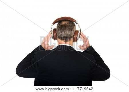 Businessman with big headphones