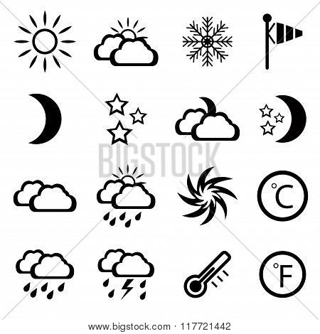 Set Of Black Weather Icons