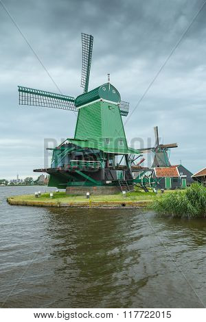 Traditional Windmill In Netherlands