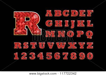 Stylized  Vector Sparkling Jeweled Ruby Precious Stone  Fancy Latin Abc Alphabet. Use Letters To Mak