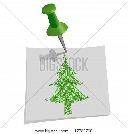 Christmas Tree Drawn By Hand On Paper For Notes With Push Pin