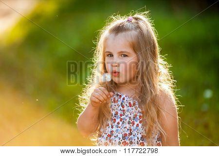 Cute Little Girl Blowing The  Dandelion
