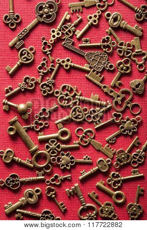 steampunk old vintage metal keys background