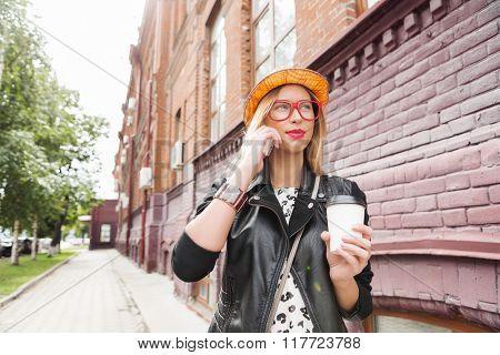 Attractive tourist see city
